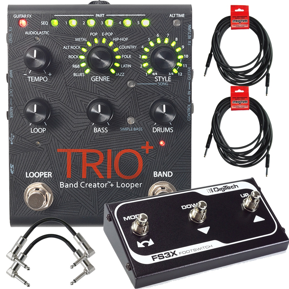pitbull audio digitech trio plus band creator and looper guitar effects pedal with fs3x 3. Black Bedroom Furniture Sets. Home Design Ideas