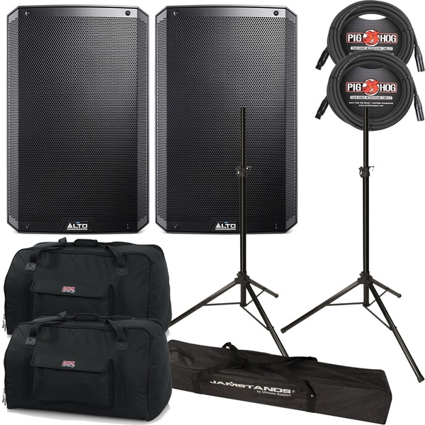 """Alto TS-215W 2-Way Powered 15"""" Speakers Pair + Cables + Stands + Bags"""