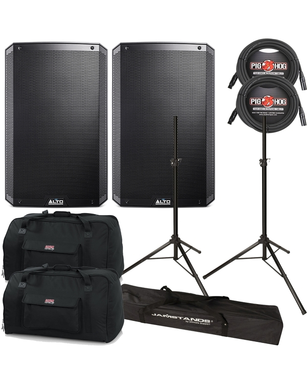 "Alto TS-215W 2-Way Powered 15"" Speakers Pair + Cables + Stands + Bags"