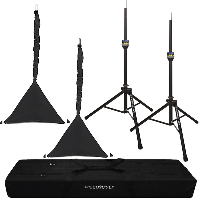 pitbull audio ultimate support ts 90b telelock series aluminum speaker stand with bag and black. Black Bedroom Furniture Sets. Home Design Ideas