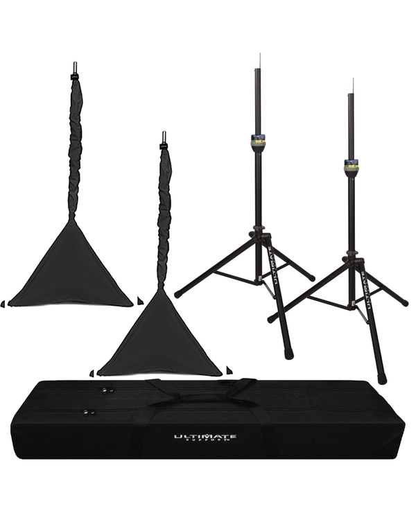 Ultimate Support TS-90B TeleLock Series Aluminum Speaker Stand with Bag and Black Tripod Covers