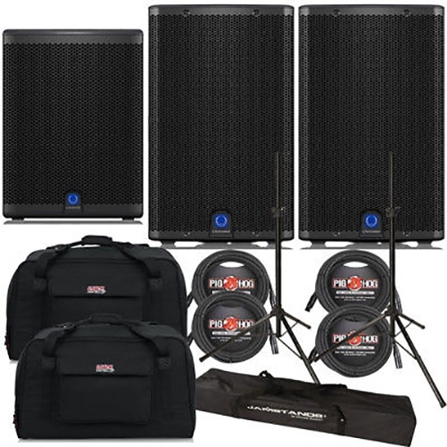 Turbosound iQ12 Loudspeaker Pair with iQ15B Subwoofer, Stands, Cables, and Tote Bags
