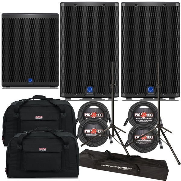 Turbosound iQ12 Loudspeaker Pair with iQ18B Subwoofer, Stands, Cables, and Tote Bags
