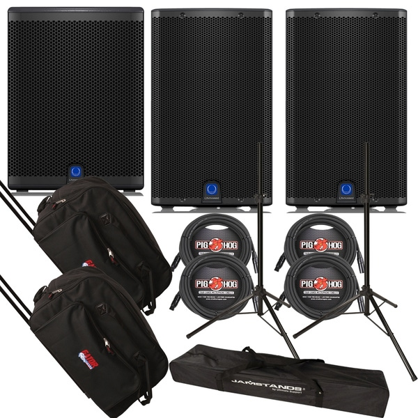 Turbosound iQ12 Loudspeaker Pair with iQ15B Subwoofer, Stands, Cables, and Rolling Bags