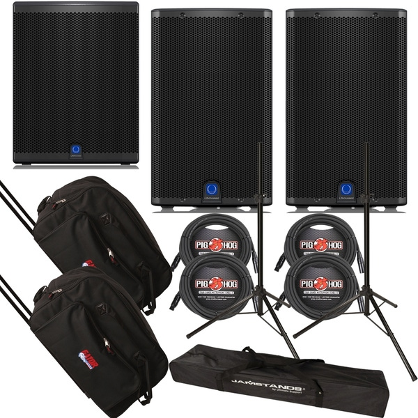 Turbosound iQ12 Loudspeaker Pair with iQ18B Subwoofer, Stands, Cables, and Rolling Bags
