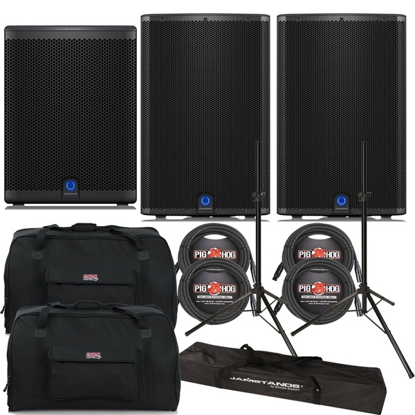 Turbosound iQ15 Loudspeaker Pair with iQ15B Subwoofer, Stands, Cables, and Tote Bags