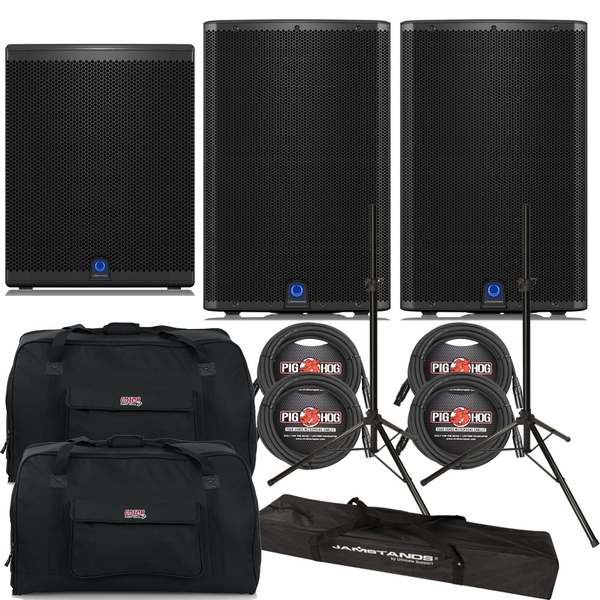 Turbosound iQ15 Loudspeaker Pair with iQ18B Subwoofer, Stands, Cables, and Tote Bags