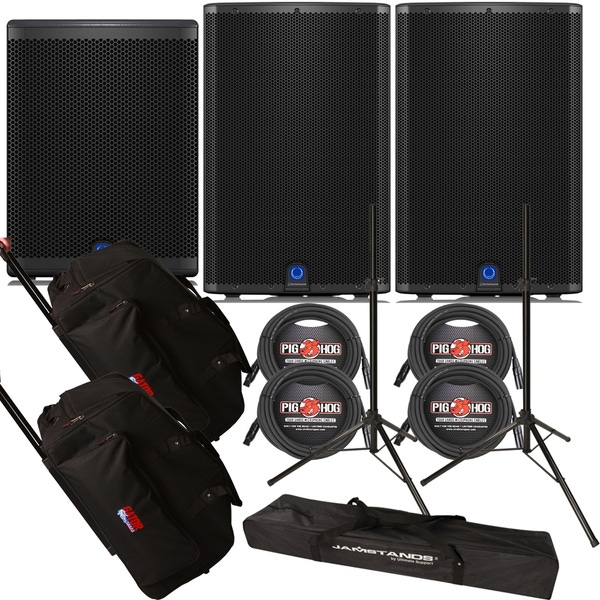Turbosound iQ15 Loudspeaker Pair with iQ15B Subwoofer, Stands, Cables, and Rolling Bags