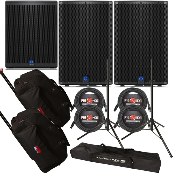 Turbosound iQ15 Loudspeaker Pair with iQ18B Subwoofer, Stands, Cables, and Rolling Bags