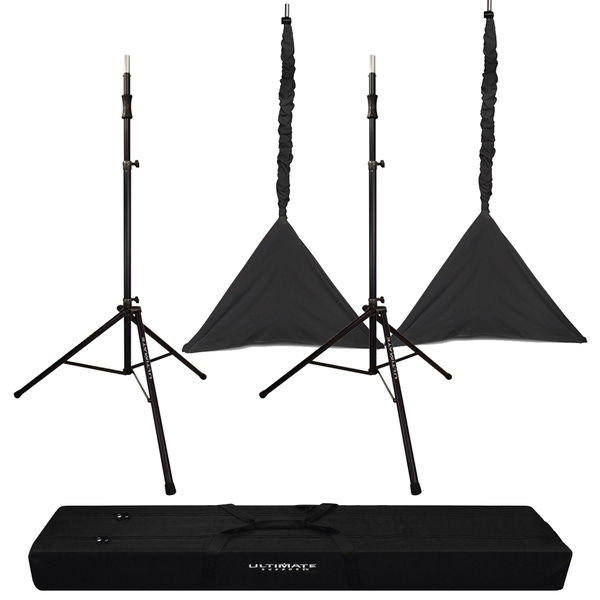 Ultimate Support TS-110B Tall Air Lift Speaker Stands with Carry Bag and Black Pole/Tripod Sleeves