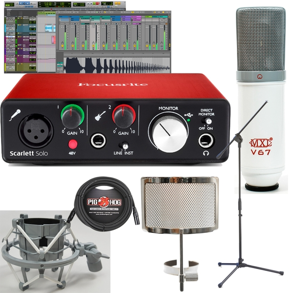 Focusrite Scarlett Solo Interface Bundle with Cable, Stand, and Limited Edition MXL V67G Microphone Pack