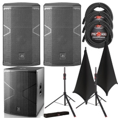 D.A.S. Audio VANTEC 12A Speaker Pair with 18A Subwoofer, Stands, Black Stand Covers, and Cables