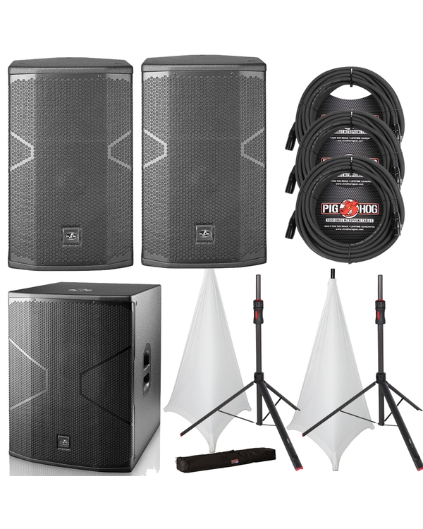 D.A.S. Audio VANTEC 12A Speaker Pair with 18A Subwoofer, Stands, White Stand Covers, and Cables