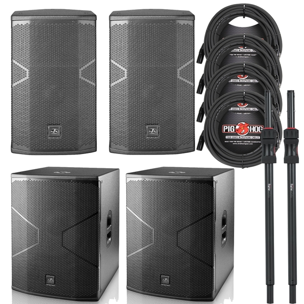 (2) D.A.S. Audio VANTEC 12A Speakers and (2) 18A Subwoofers with Poles and Cables
