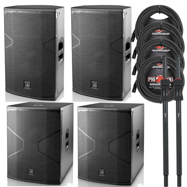 (2) D.A.S. Audio VANTEC 15A Speakers and (2) 18A Subwoofers with Poles and Cables