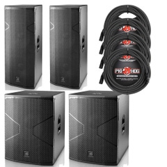 (2) D.A.S. Audio VANTEC 215A Speakers and (2) 18A Subwoofers with Cables