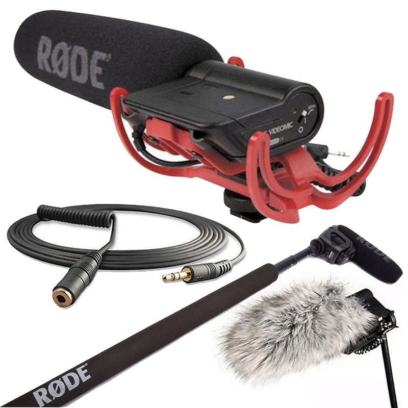 Rode VideoMic Directional On-camera Microphone with Micro Boompole, DeadCat Wind Muff, & VC1 Cable