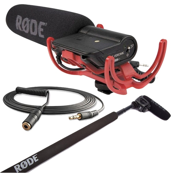 Rode VideoMic Directional On-camera Microphone with Micro Boompole & VC1 10 ft Extension Cable