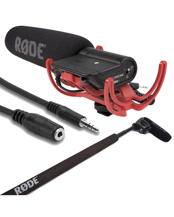 Rode VideoMic Directional On-camera Microphone with Micro Boompole & 25 ft Extension Cable