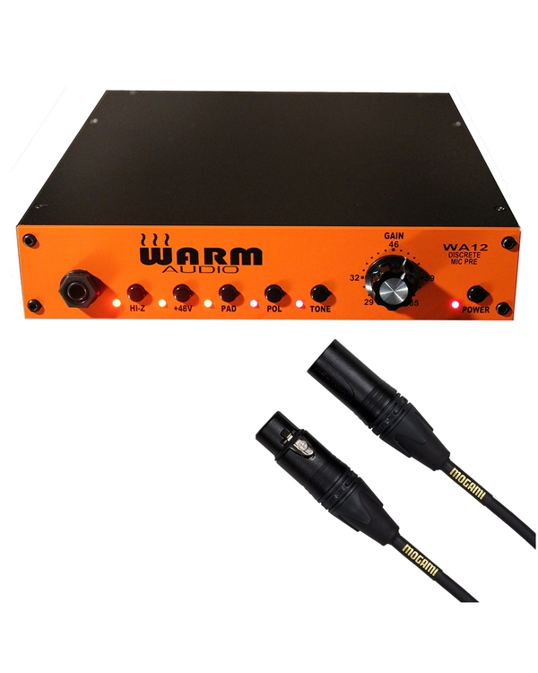 Warm Audio WA12 Microphone/Instrument Preamp with 15 ft Mogami XLR Cable