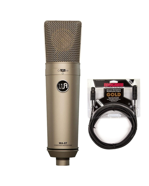 Warm Audio WA87 Large-Diaphragm Condenser Microphone with 15ft Mogami Gold Studio XLR Cable