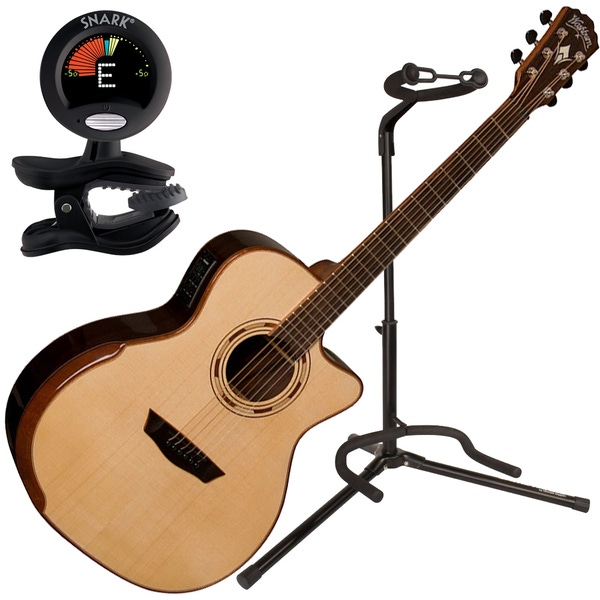Washburn WCG25SCE Comfort Grand Auditorium Acoustic Guitar with Tuner and Stand
