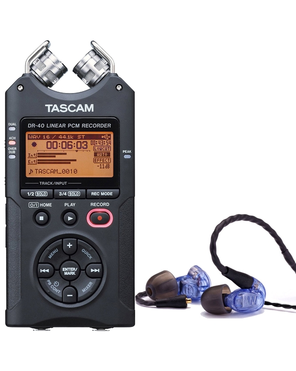 Westone UM PRO 10 Blue Earphones and Tascam DR-40 Recorder