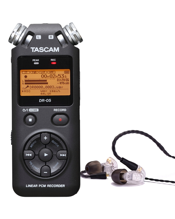 Westone UM PRO 10 Clear Earphones and Tascam DR-05 Version 2 Recorder