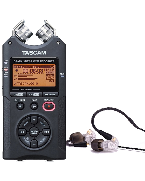 Westone UM PRO 10 Clear Earphones and Tascam DR-40 Recorder