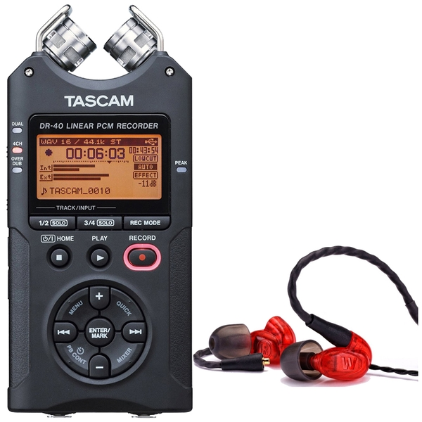 Westone UM PRO 10 Red Earphones and Tascam DR-40 Recorder