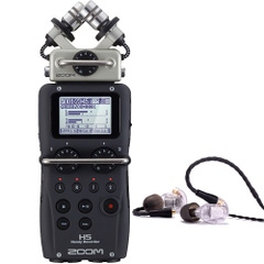 Zoom H5 Portable Handheld Recorder and Westone UM PRO 20 Earphones Clear