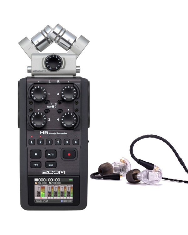Zoom H6 Portable Handheld Recorder and Westone UM PRO 20 Earphones Clear