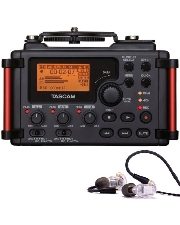 Westone UM PRO 20 Earphones Clear and Tascam DR-60DMKII Portable Recorder