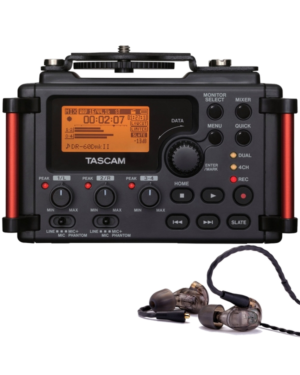 Westone UM PRO 20 Earphones Smoke and Tascam DR-60DMKII Portable Recorder