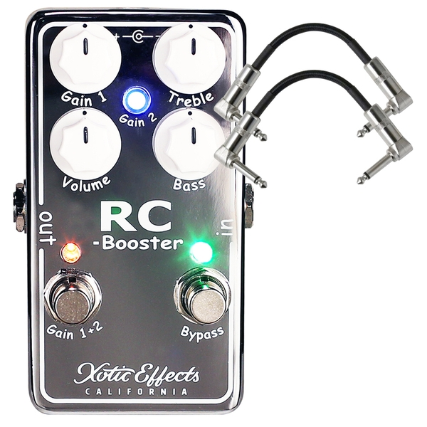 Xotic Effects RC Booster V2 Version 2 Guitar Effects Pedal with Patch Cables
