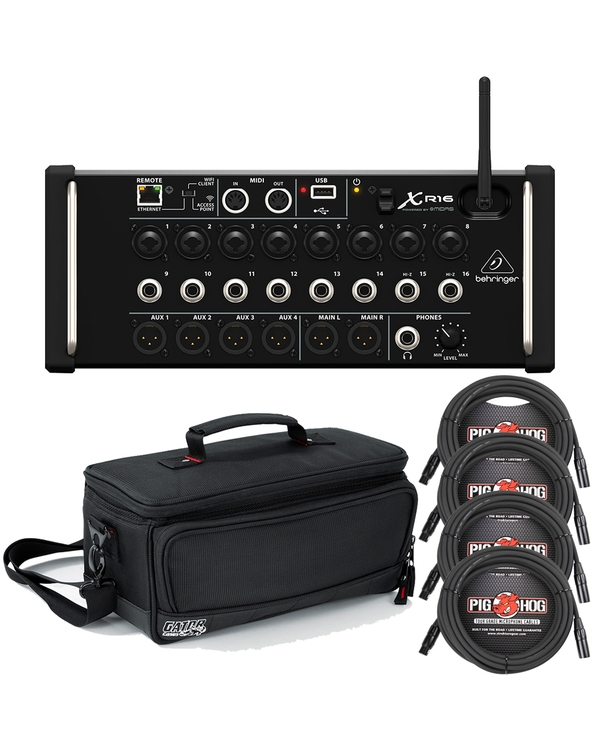 Behringer X Air XR16 16-Input Digital Mixer with Gator Padded Carry Bag & Cables