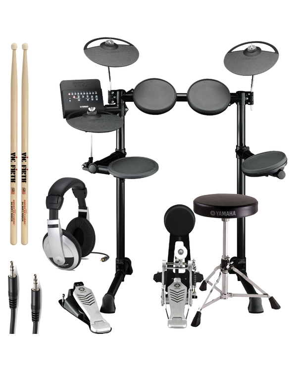 Yamaha DTX450K 5-Piece Electronic Drum Kit with Throne, Sticks, and Headphones
