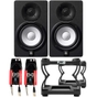 "Yamaha HS5 5"" Powered Studio Monitor Pair (Black) with Desktop Stands and Cables"