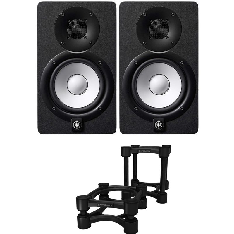 "Yamaha HS5 5"" Powered Studio Monitor Black Pair with IsoAcoustics ISO-155 Isolation Stands"