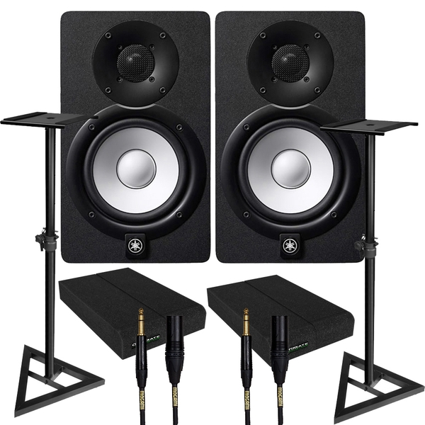 Yamaha HS5 Black Studio Monitor Pair with Ultimate Support Stands, Isolation Pads, & Mogami Cables