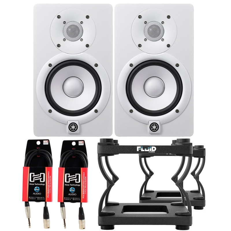 "Yamaha HS5 5"" Powered Studio Monitor Pair (White) with Desktop Stands and Cables"