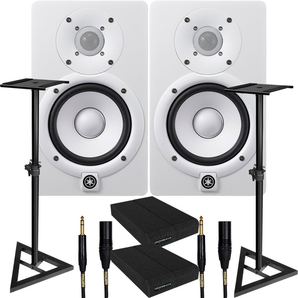 Yamaha HS5 White Studio Monitor Pair with Ultimate Support Stands, Isolation Pads, & Mogami Cables