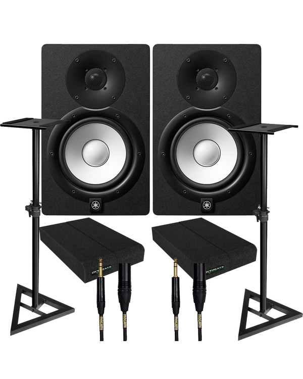 Yamaha HS7 Black Studio Monitor Pair with Ultimate Support Stands, Isolation Pads, & Mogami Cables