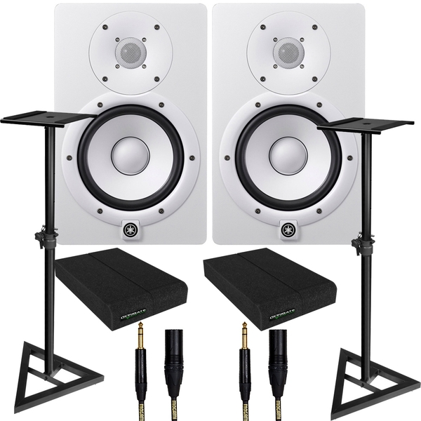 Yamaha HS7 White Studio Monitor Pair with Ultimate Support Stands, Isolation Pads, & Mogami Cables