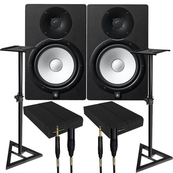 Yamaha HS8 Black Studio Monitor Pair with Ultimate Support Stands, Isolation Pads, & Mogami Cables