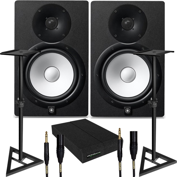 Yamaha HS8I Mountable Studio Monitor Pair (Black) with Stands, Pads, & Mogami Cables