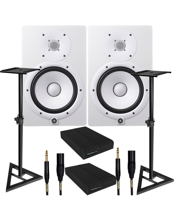 Yamaha HS8 White Studio Monitor Pair with Ultimate Support Stands, Isolation Pads, & Mogami Cables