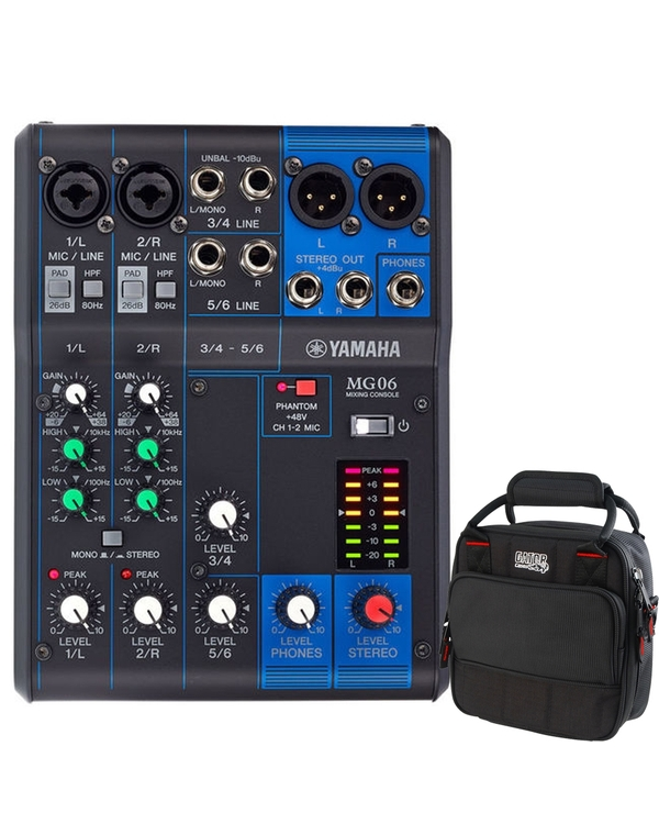Yamaha MG06 6-Channel Analog PA Mixer with Gator G-MIXERBAG-0909 Mixer/Equipment Bag