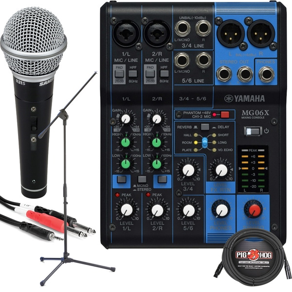 Yamaha MG06X 6-Channel Mixer with Mic, Stand, and Cables