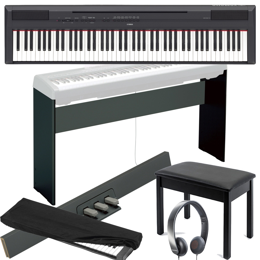 Admirable Yamaha P115 88 Key Digital Piano With Lp 5A 3 Pedal L 85 Stand Bench Cover And Headphones Black Gmtry Best Dining Table And Chair Ideas Images Gmtryco